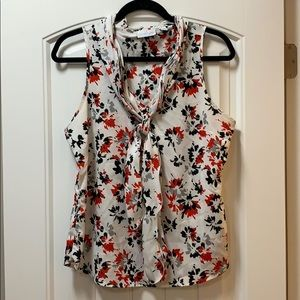 Tie neck sleeveless blouse